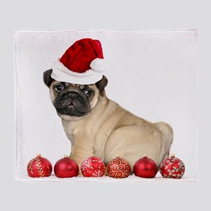 Christmas pug dog Throw Blanket