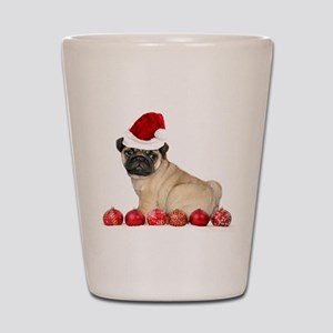 Christmas pug dog Shot Glass