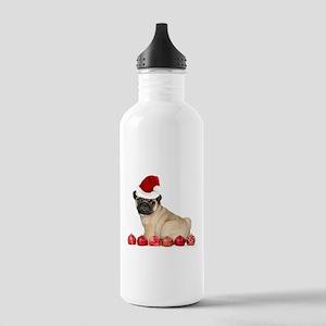 Christmas pug dog Water Bottle