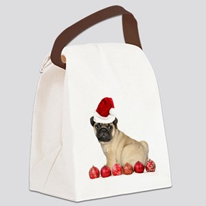 Christmas pug dog Canvas Lunch Bag