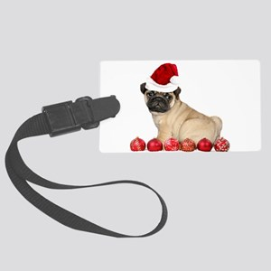 Christmas pug dog Luggage Tag