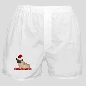 Christmas pug dog Boxer Shorts