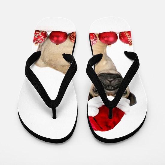 Christmas pug dog Flip Flops