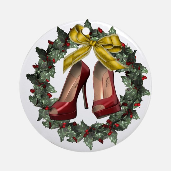 Red Stiletto Shoe Round Holiday Ornament (round)