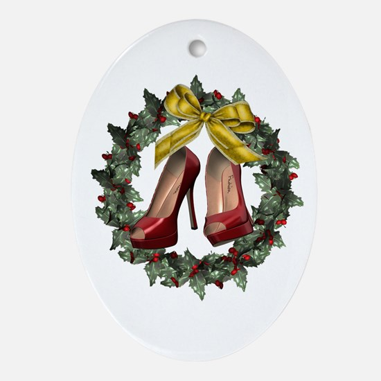 Red Stiletto Shoe Oval Holiday Ornament (oval)
