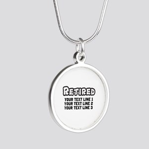 Retirement Text Personalized Silver Round Necklace