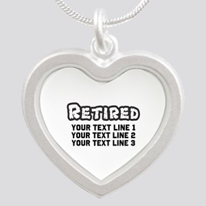 Retirement Text Personalized Silver Heart Necklace