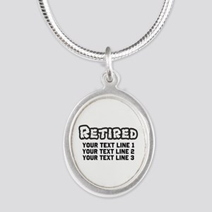 Retirement Text Personalized Silver Oval Necklace