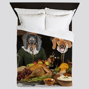 Thanksgiving Dinner Doxies 2 Queen Duvet