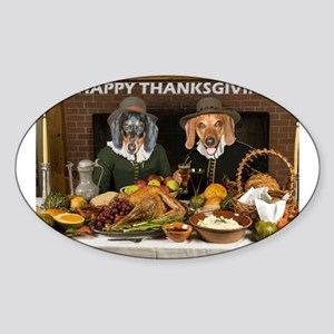 Thanksgiving Dinner Doxies 2 Sticker (Oval)