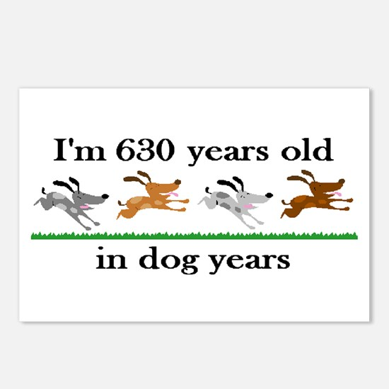 90 dog years birthday 2 Postcards (Package of 8)