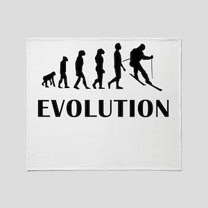 Skiing Evolution Throw Blanket