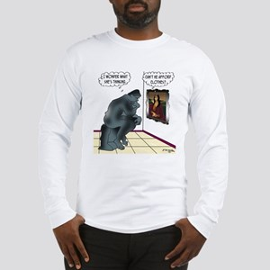 The Thinker & Mona Lisa's Thoughts Long Sleeve T-S