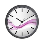 Pink Wave Abstract Wall Clock