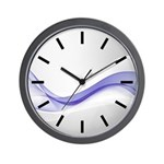 Purple Wave Abstract Wall Clock