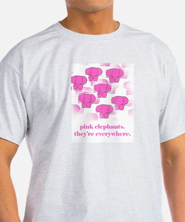 Pink Elephants Ash Grey T-Shirt