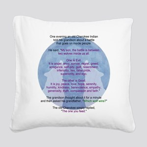 Wolf Wisdom Square Canvas Pillow