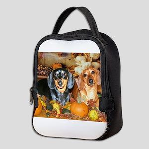 FALL AUTUMN DOXIES 16X12 Neoprene Lunch Bag