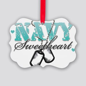 3-navy teal Picture Ornament