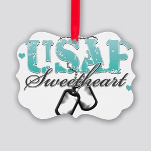 usaf teal Picture Ornament
