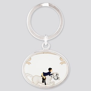 Riding School boy Oval Keychain