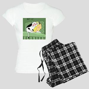 Night Cap Sleeping Cat Women's Light Pajamas