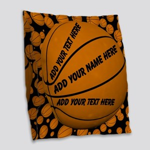 Basketball Burlap Throw Pillow