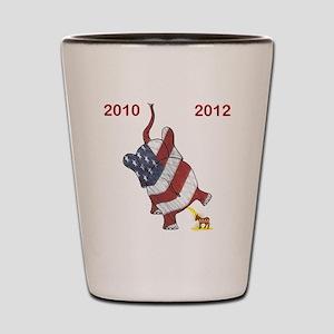 2x2 2010  2012 Elephant over donkey Shot Glass