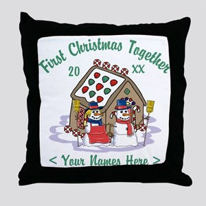 Personalize First Christmas Together Throw Pillow
