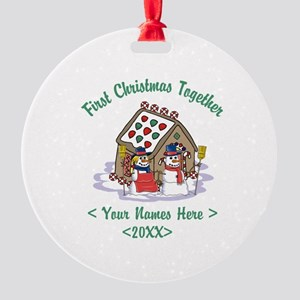 Personalize First Christmas Together Round Ornamen