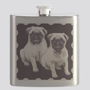 two pugs in a bordered design Flask