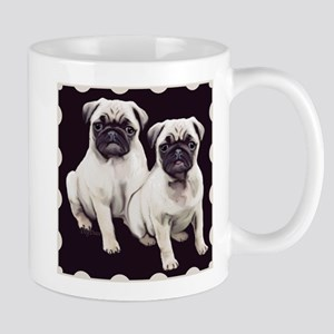 two pugs in a bordered design Mugs