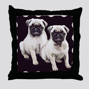 two pugs in a bordered design Throw Pillow