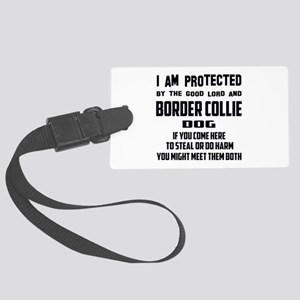 I am protected by the good lord Large Luggage Tag