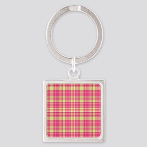 Preppy Modern Plaid Hot Pink Lime  Square Keychain