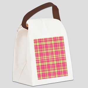 Preppy Modern Plaid Hot Pink Lime Canvas Lunch Bag