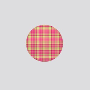 Preppy Modern Plaid Hot Pink Lime Gree Mini Button