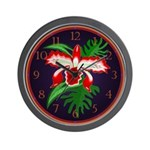 Exotic Orchid Wall Clock