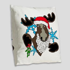 Mistletoe moose Burlap Throw Pillow