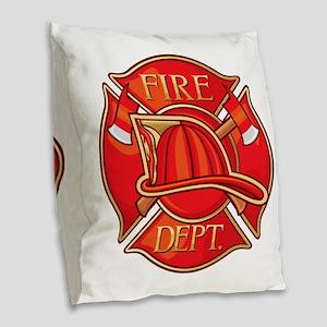 Fire Department Burlap Throw Pillow