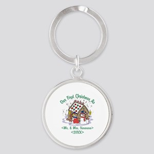 Personalized First Christmas As Mr & Mrs Round Key