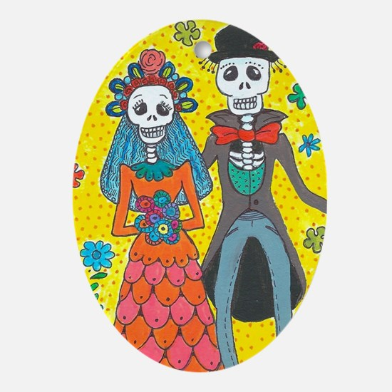 Funny Day of the dead Oval Ornament