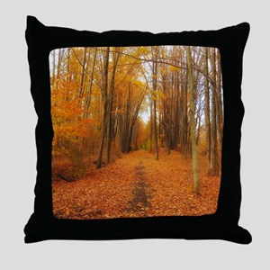 Golden Autumn Trail Throw Pillow