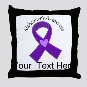 Personalized Alzheimers Ribbon Throw Pillow