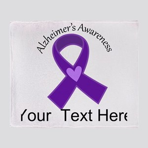 Personalized Alzheimers Ribbon Throw Blanket