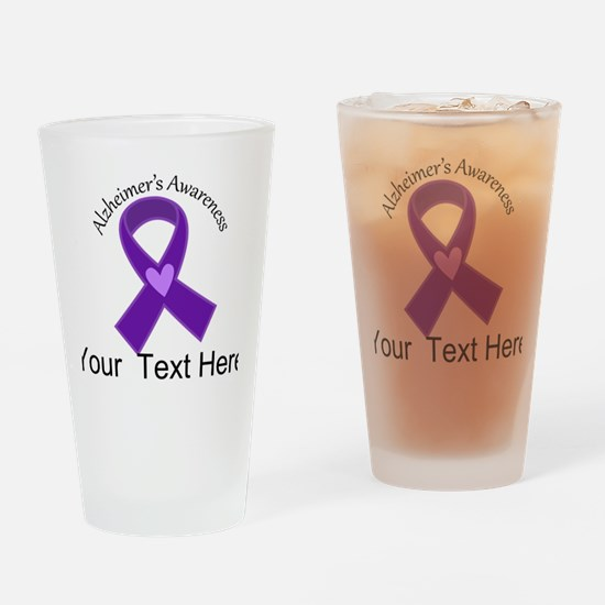 Personalized Alzheimers Ribbon Drinking Glass