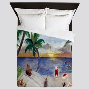 Santas beach break Queen Duvet