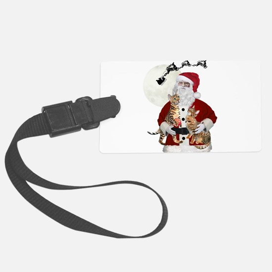 Santa Holds Bengal Cats Luggage Tag