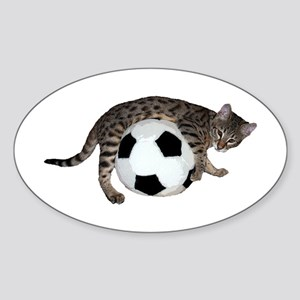 Cat Soccer - Sticker (Oval)