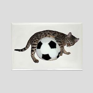 Cat Soccer - Rectangle Magnet